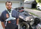 """A lot of people thought I was dead,"" says Jon Strabley, 20, pictured at home in Grand Junction with the remains of his race car. A terrifying crash on July 13 ended his rookie season of dirt-track racing and nearly claimed his life. ANDREW McGINN 