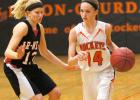 Sophomore Carleigh Paup drives past the Ar-We-Va defender in Paton-Churdan's conference battle on Jan. 21. The ninth ranked opponent won the game 61-51 despite Paup scoring 28 points in the contest.