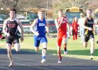 Ram senior Roman Phillips starts to break away from the pack in the 100 meter dash at the Ram Relays. Phillips broke a 29 year old school record winning the event in 10.94 seconds. He also set a new meet record in the 200 meter dash.