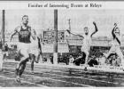 The Des Moines Register captured the incredible finish of the 1930 Class A 880-yard relay state final, won by Mason City (far left). Jefferson's Joe Rogers (far right with stripe) anchored the Rambler's record-setting relay, as they finished second, a hair ahead of Des Moines North.  PHOTO COURTESY OF DES MOINES REGISTER