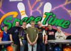 Spare Time Lanes High Scorers (l. to r.) Brian Netherton, Darin Hein, Bob Heath Sr., Kevin Sherlock, Ricky Lebeck, John Woodford, and Joyce Hoyle
